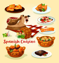 Spanish cuisine national dishes poster vector