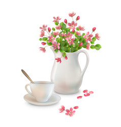 spring flowers in jug vector image
