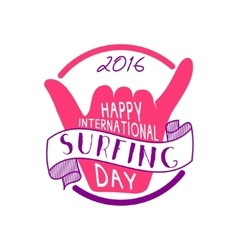 Summer international surfing day 2016 tattoo vector image
