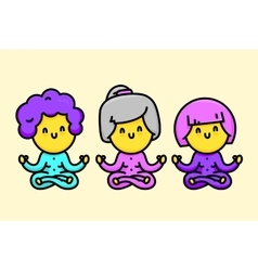 Three happy cartoon style old ladies doing yoga vector image