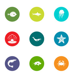 underwater life icons set flat style vector image