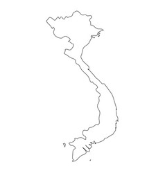 Vietnam - solid black outline border map of vector