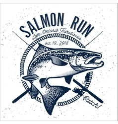 Vintage salmon fishing emblems vector
