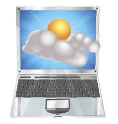 Weather sun and cloud icon laptop concept vector