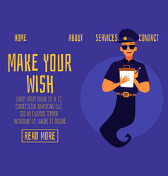Website banner with friendly smiling genie vector