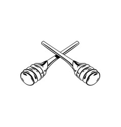 wooden honey dipper sketch style vector image