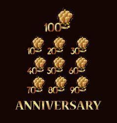 Year anniversary set gold balloon template design vector