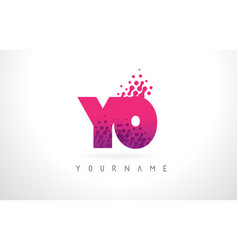 yo y o letter logo with pink purple color and vector image