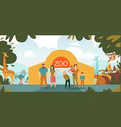 Zoo entrance cartoon vector