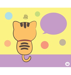 cat sitting back with speech bubble vector image vector image