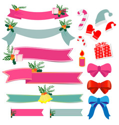 christmas gift with bell and ribbon vector image vector image