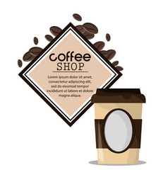 coffee shop paper cup beverage vector image