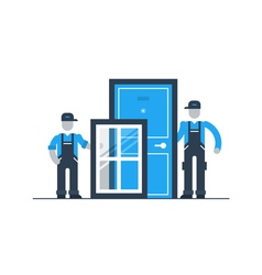 Construction workers with window frame and door vector image vector image