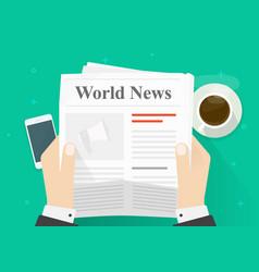 newspaper in hands flat vector image