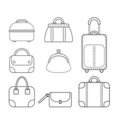 set of women handbags flat linear icon of a vector image vector image