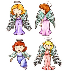 Simple sketches of angels vector image vector image