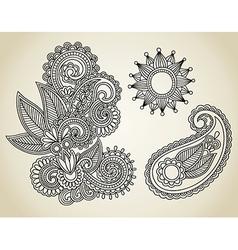 Hand draw line art ornate flower design vector image vector image