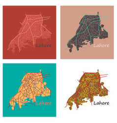 set of lahore city map color flat panoramic vector image vector image
