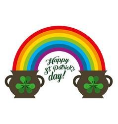 st patricks day pots clover and rainbow symbol vector image