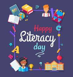 happy literacy day images vector image