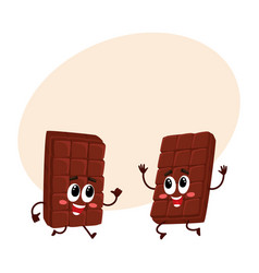 two funny chocolate bar characters jumping from vector image vector image