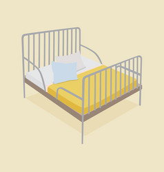 bed with pillows and blankets vector image