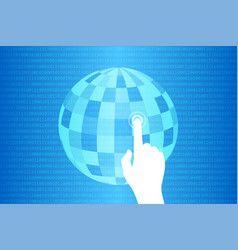 Blue technology touch world background vector
