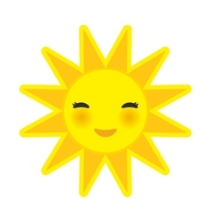 funny cartoon yellow sun smiling with closed eyes vector image vector image