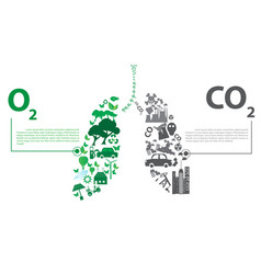 green city opposites with eco lung concept vector image