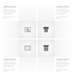 icon building set of ornate paper template and vector image vector image