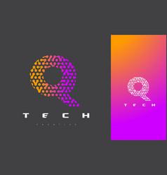 q letter logo technology connected dots letter vector image vector image