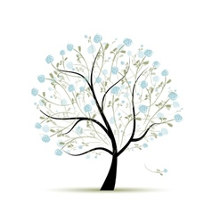 Spring tree with flowers for your design vector image vector image