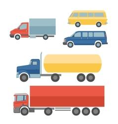 Trucks flat icons set vector image