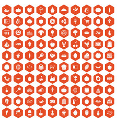 100 natural products icons hexagon orange vector image