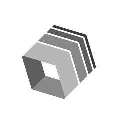 3 dimensional box shape abstract symbol vector