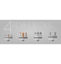 4 colored RDA decks set vector
