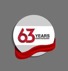 63 years anniversary design in circle red ribbon vector