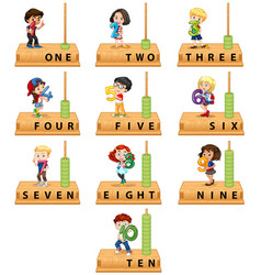 Abacus number character set vector