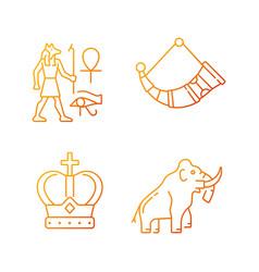 ancestors heritage gradient linear icons set vector image