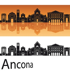 Ancona skyline in orange background vector