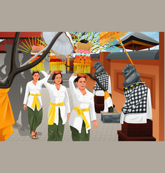 Balinese people in a traditional celebration vector