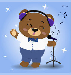 Bear is a brown singer in blue headphones a bow vector