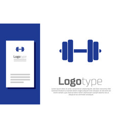 Blue dumbbell icon isolated on white background vector