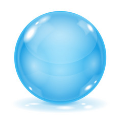 Blue glass ball 3d shiny sphere isolated on white vector