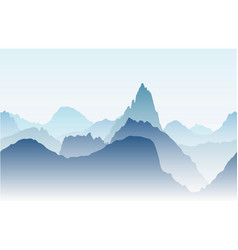 Blue mountains in the fog seamless vector