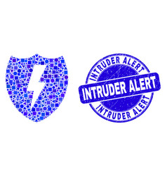 Blue scratched intruder alert stamp and electric vector