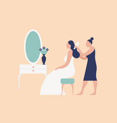 Bridesmaid hairdresser or stylist combing brides vector