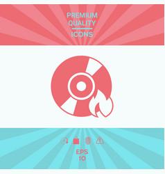 Burn cd or dvd icon vector