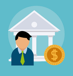 Businessman and bank concept vector