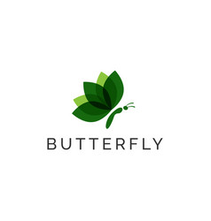 Butterfly modern leaf logo design template vector